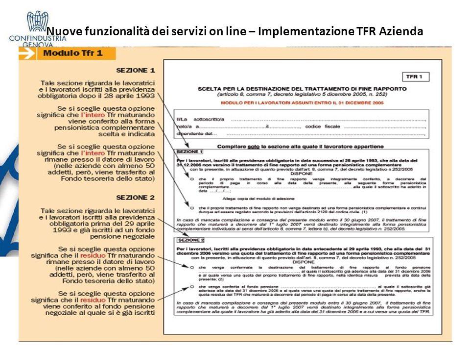 Nuove funzionalità dei servizi on line – Implementazione TFR Azienda