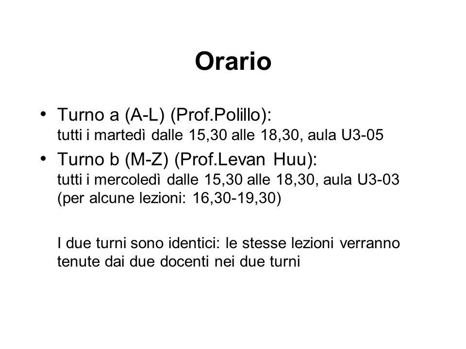 Orario Turno a (A-L) (Prof.Polillo): tutti i martedì dalle 15,30 alle 18,30, aula U3-05.