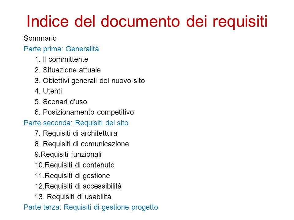 Indice del documento dei requisiti