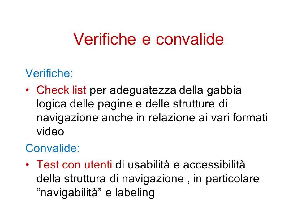 Verifiche e convalide Verifiche: