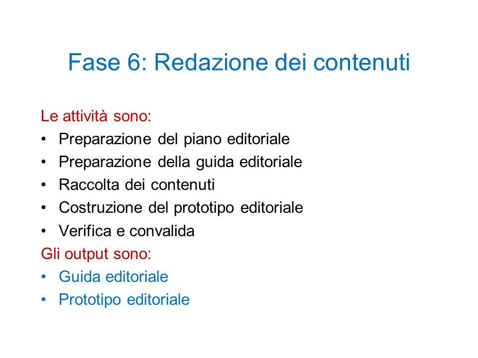 Fase 6: Redazione dei contenuti