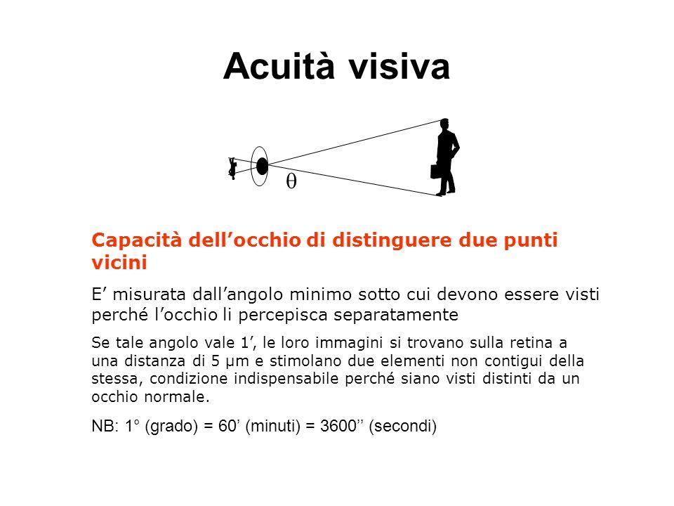 Acuità visiva  Capacità dell'occhio di distinguere due punti vicini