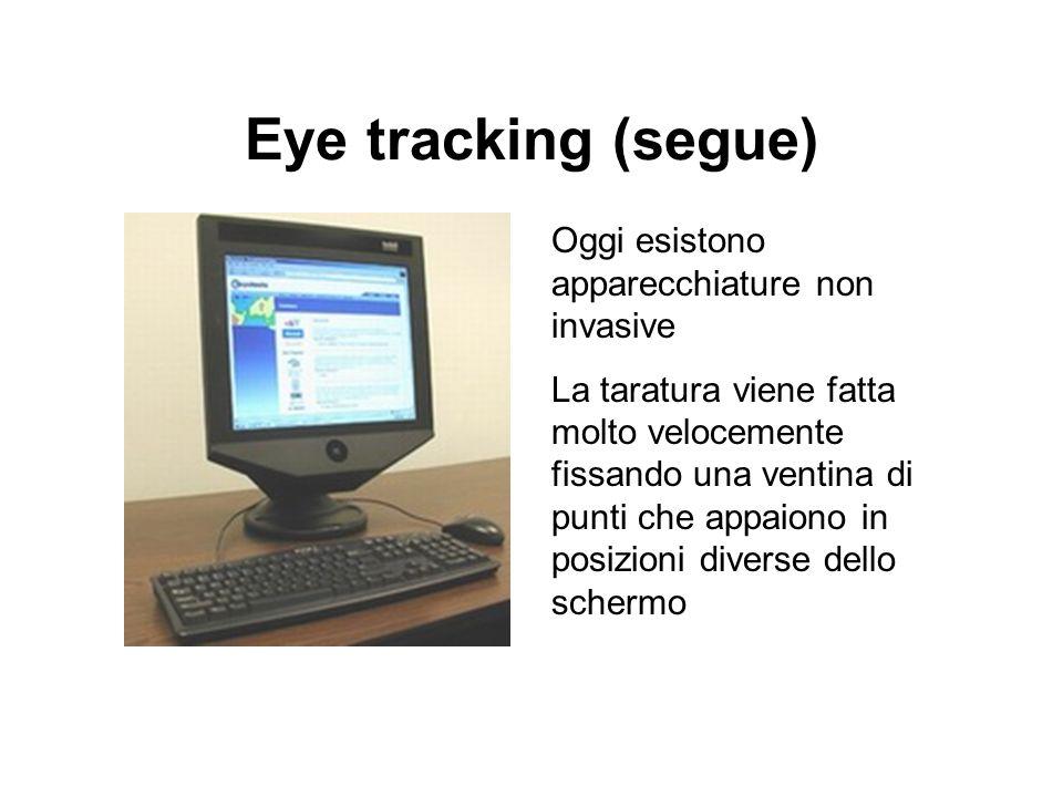 Eye tracking (segue) Oggi esistono apparecchiature non invasive
