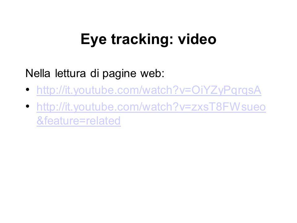Eye tracking: video Nella lettura di pagine web: