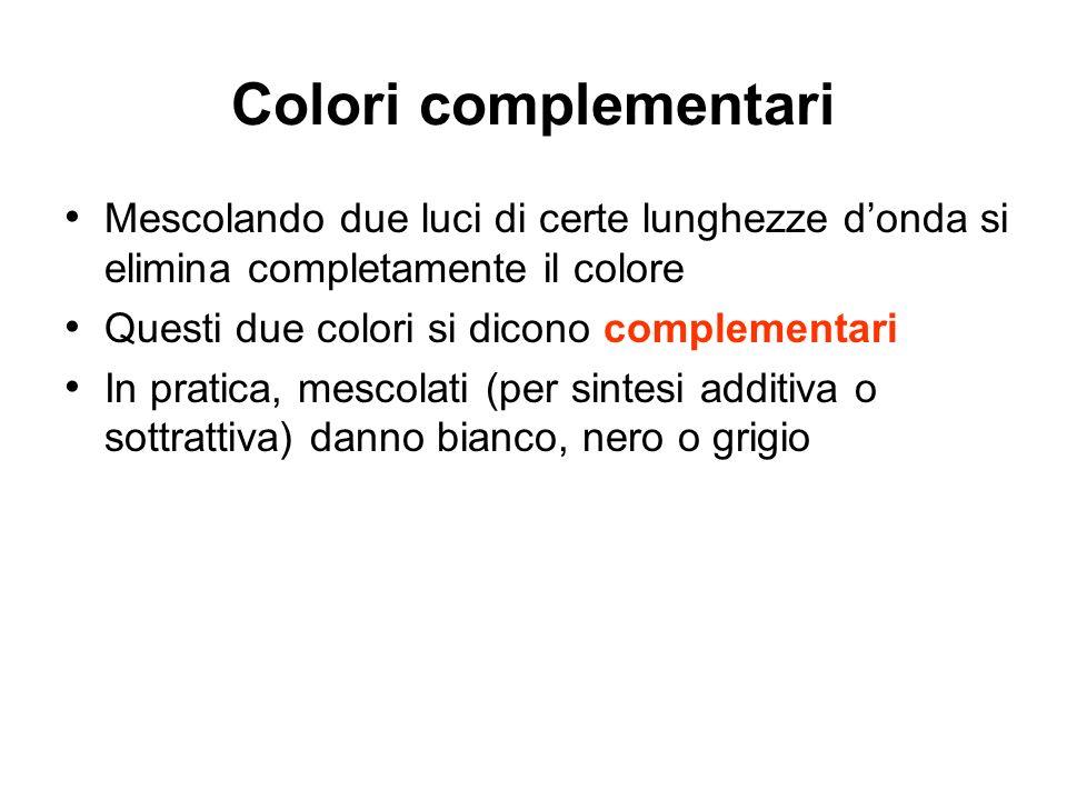 Colori complementari Mescolando due luci di certe lunghezze d'onda si elimina completamente il colore.