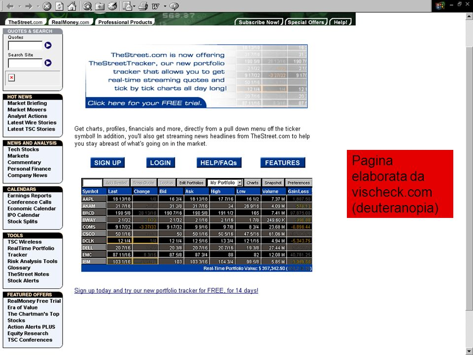 Pagina elaborata da vischeck.com (deuteranopia)