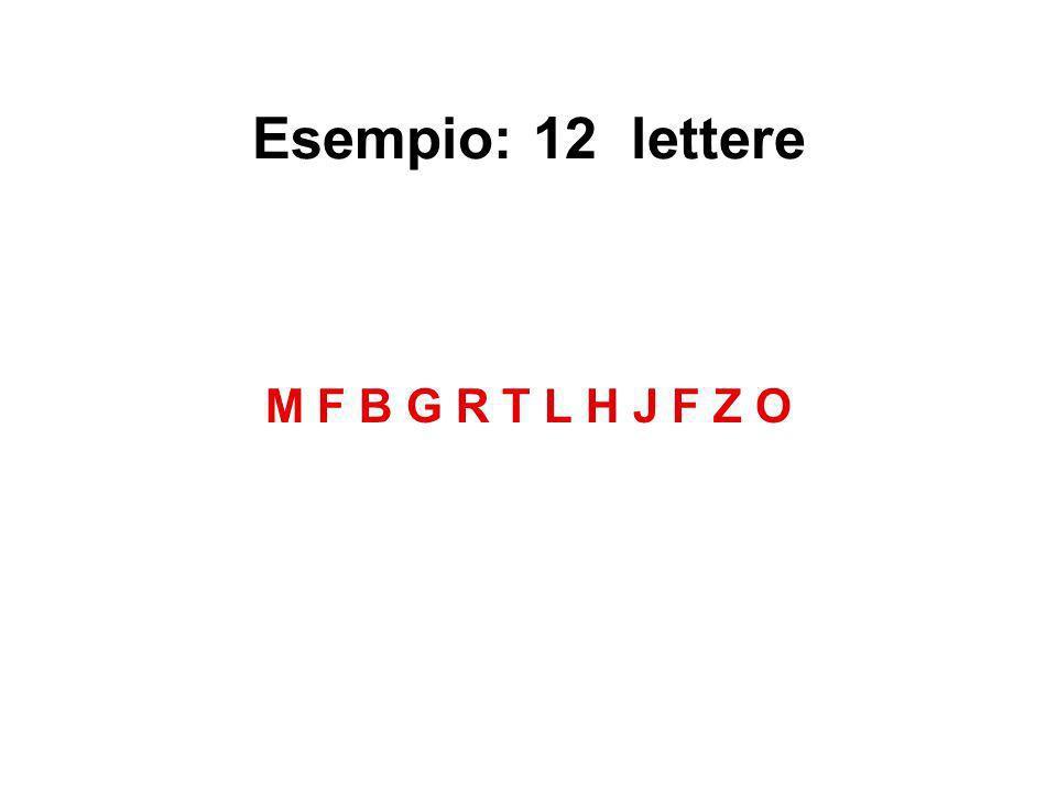 Esempio: 12 lettere M F B G R T L H J F Z O