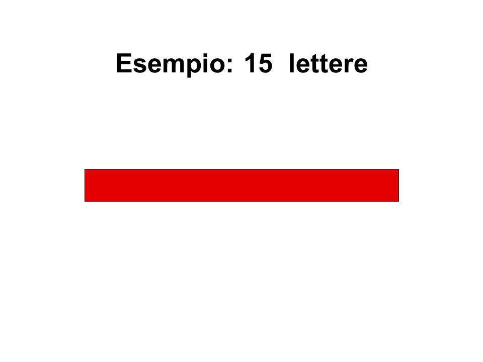 Esempio: 15 lettere L T R M J F E G Y Z A B N D K