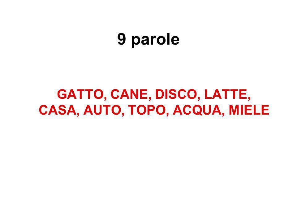 GATTO, CANE, DISCO, LATTE, CASA, AUTO, TOPO, ACQUA, MIELE