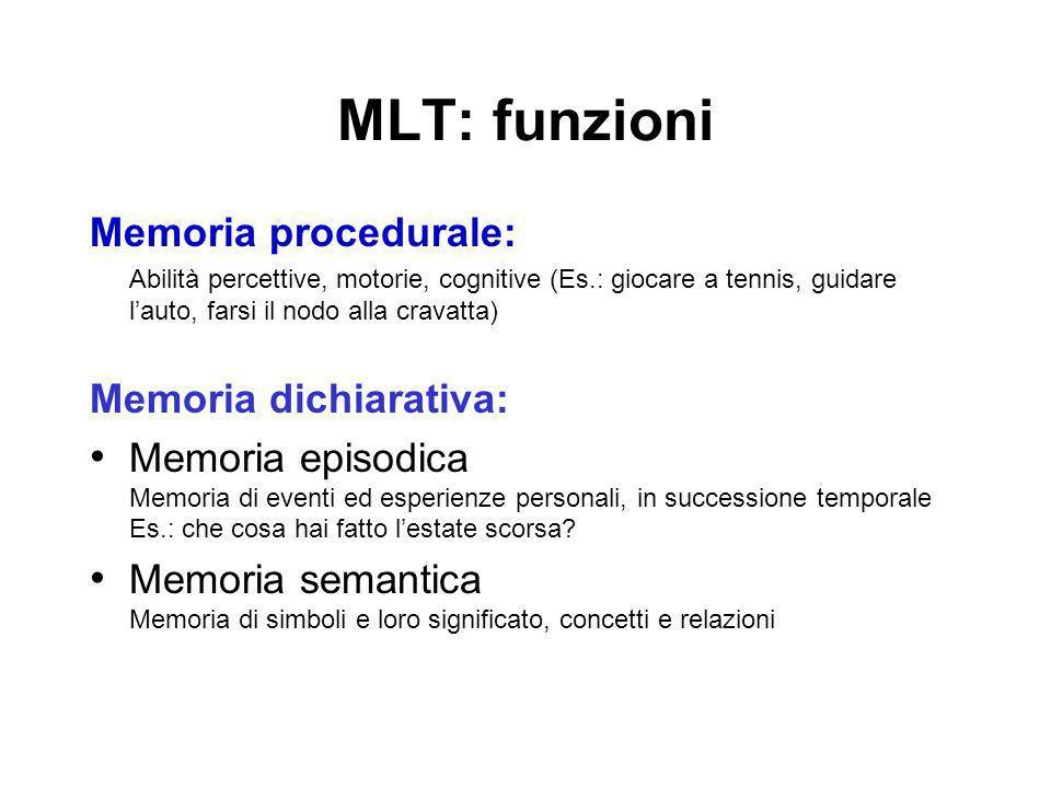 MLT: funzioni Memoria procedurale: Memoria dichiarativa: