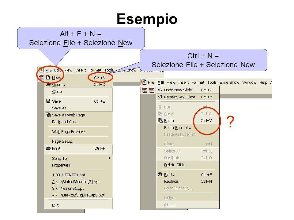 Esempio Alt + F + N = Selezione File + Selezione New