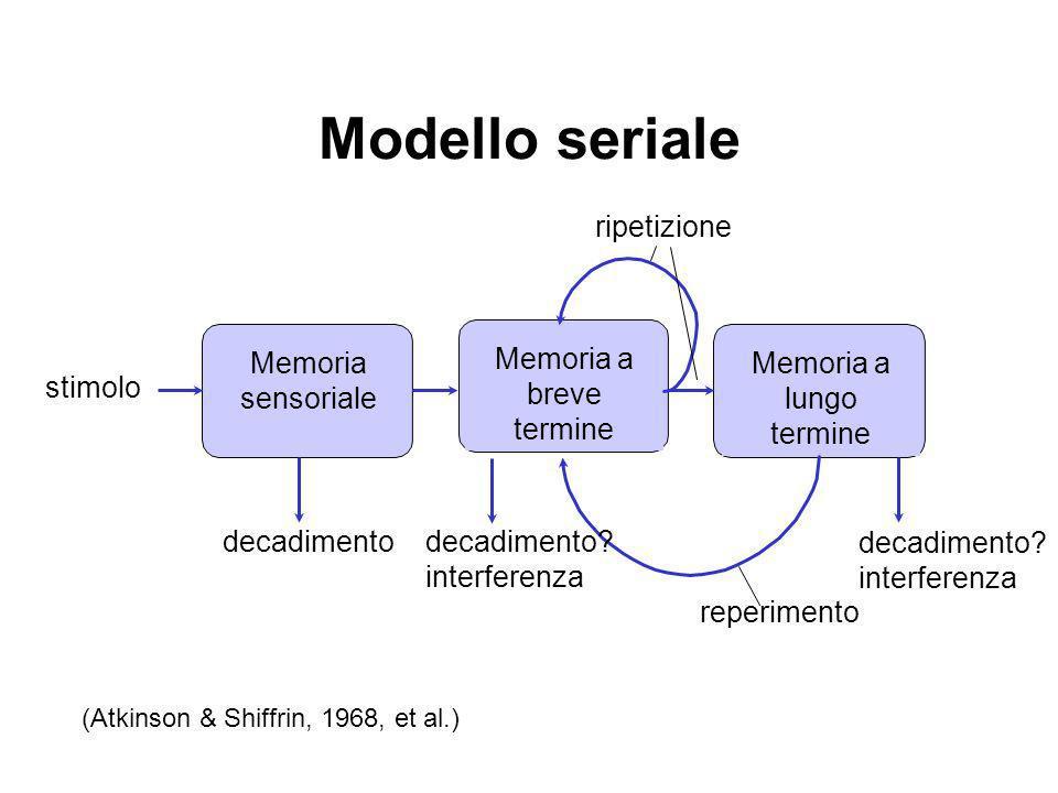Modello seriale Memoria a breve termine Memoria sensoriale