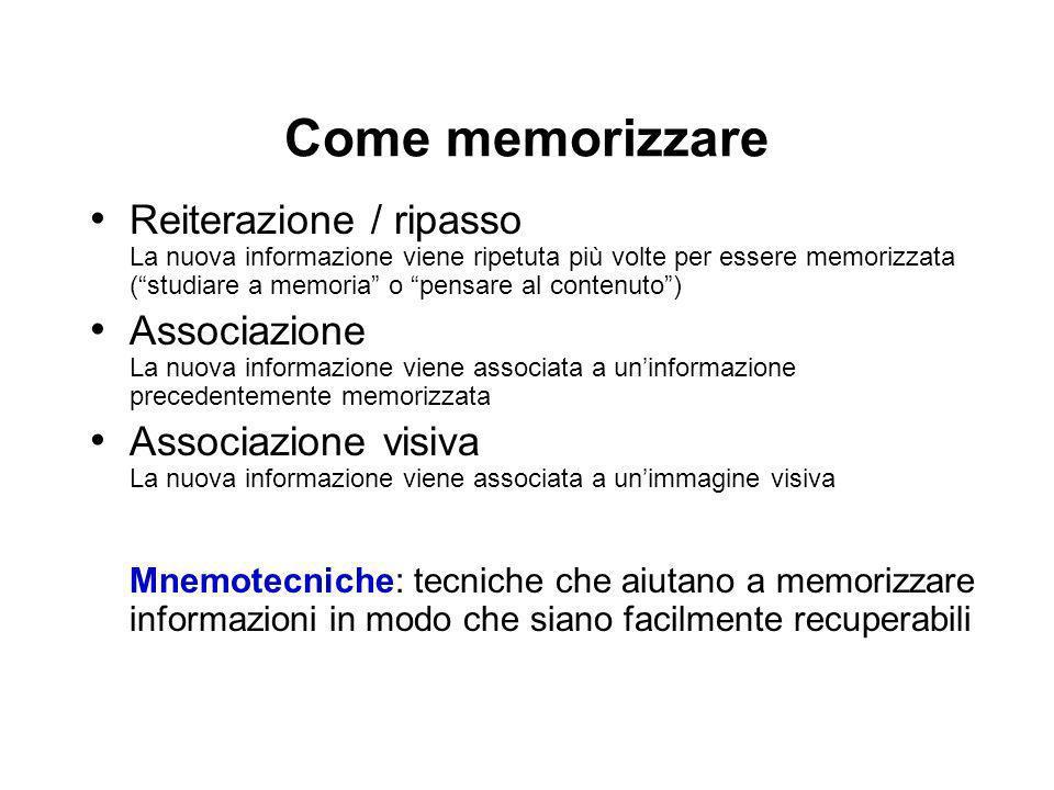 Come memorizzare