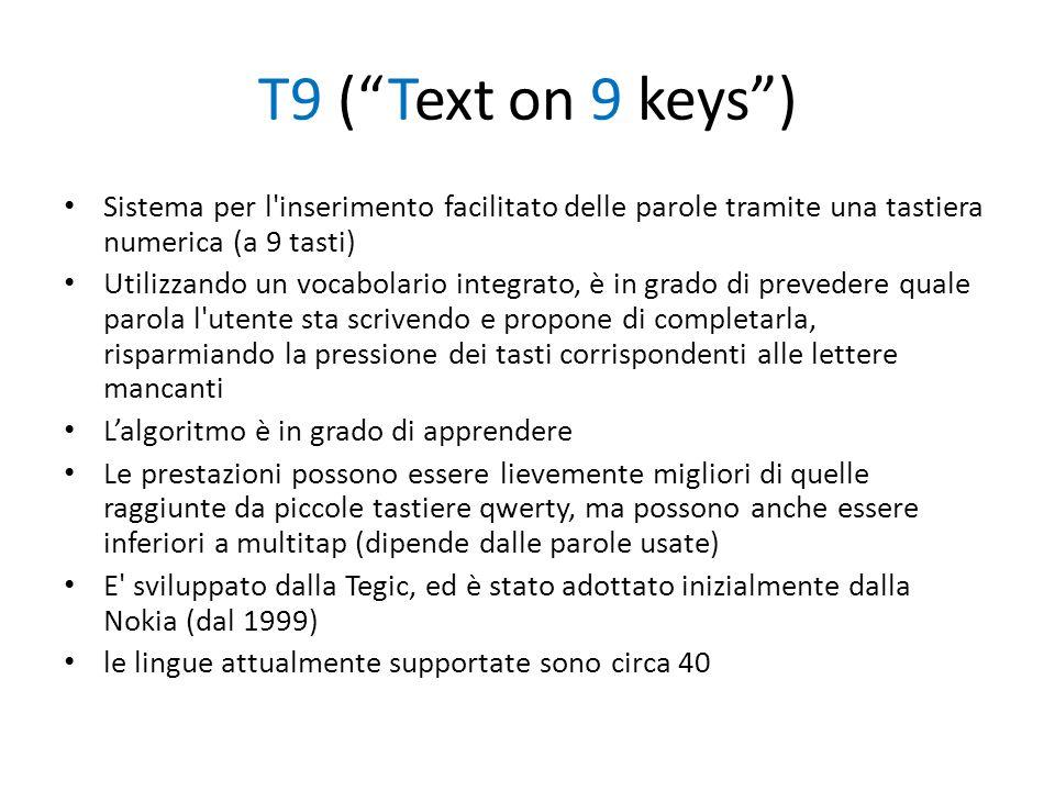 T9 ( Text on 9 keys ) Sistema per l inserimento facilitato delle parole tramite una tastiera numerica (a 9 tasti)