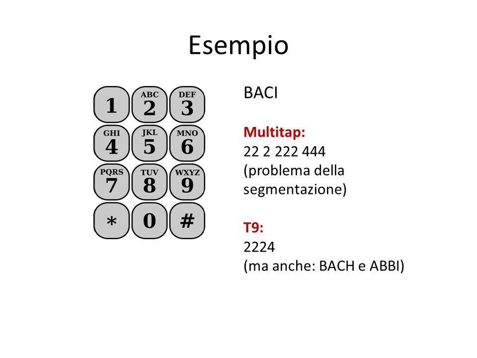 Esempio BACI Multitap: 22 2 222 444 (problema della segmentazione) T9: