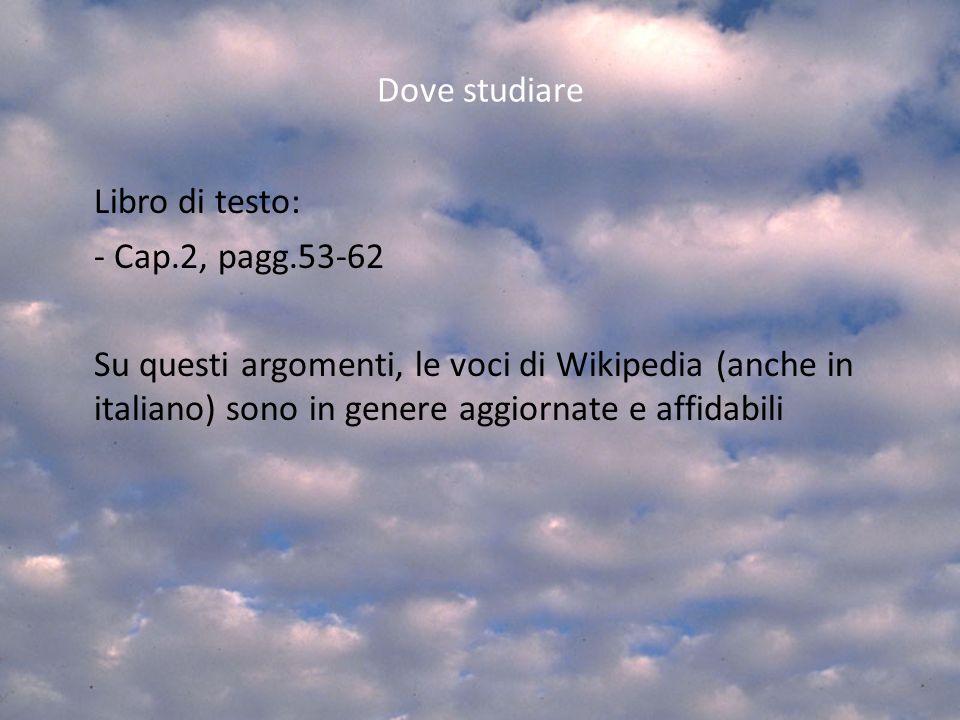 Libro di testo: Dove studiare - Cap.2, pagg.53-62