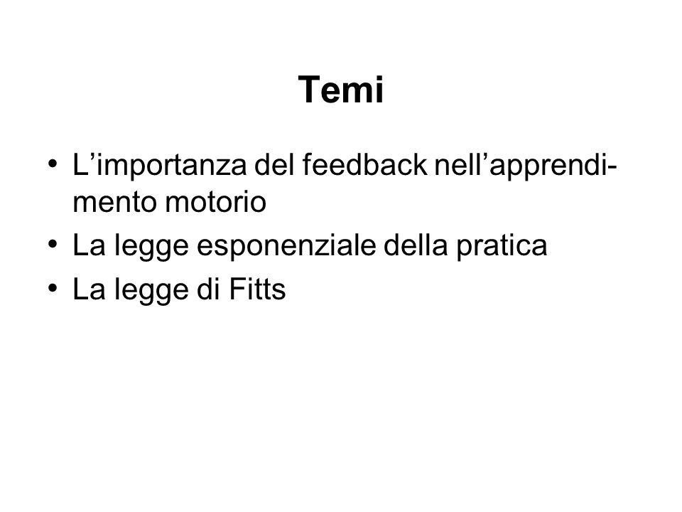 Temi L'importanza del feedback nell'apprendi-mento motorio