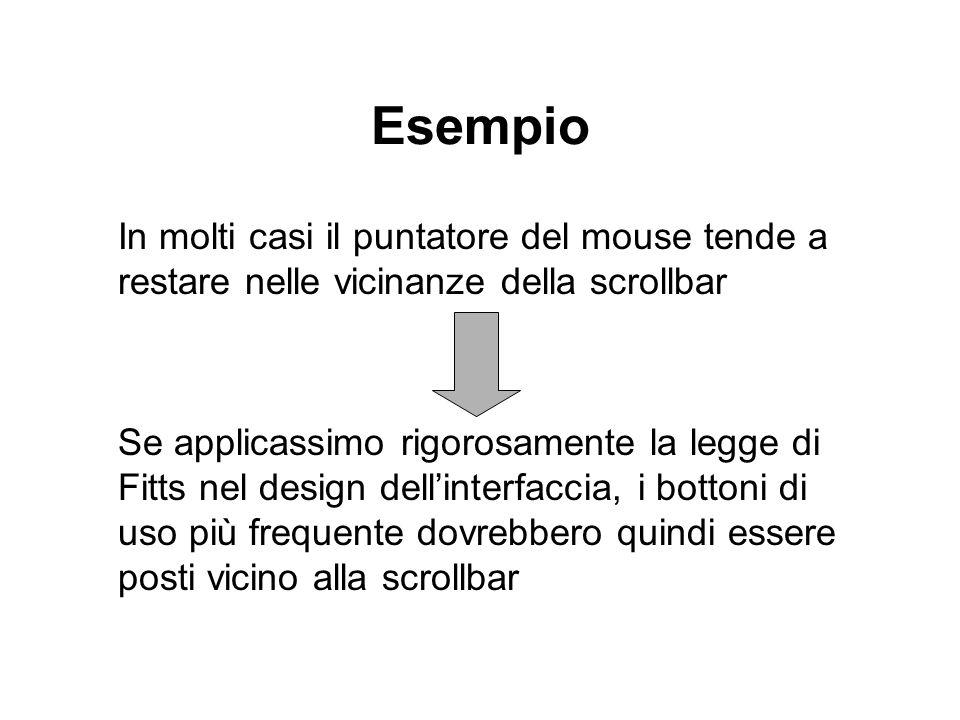 Esempio In molti casi il puntatore del mouse tende a restare nelle vicinanze della scrollbar.