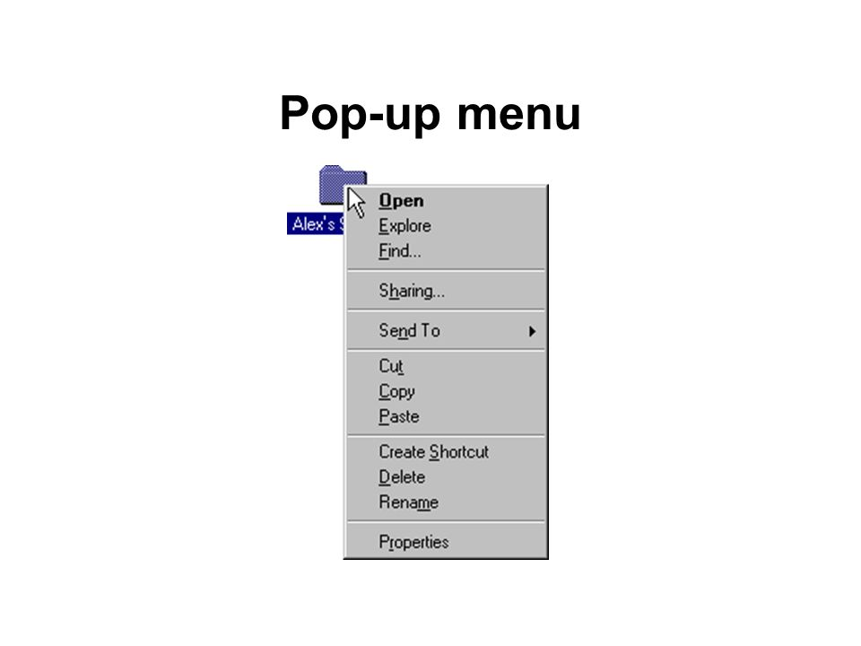 Pop-up menu