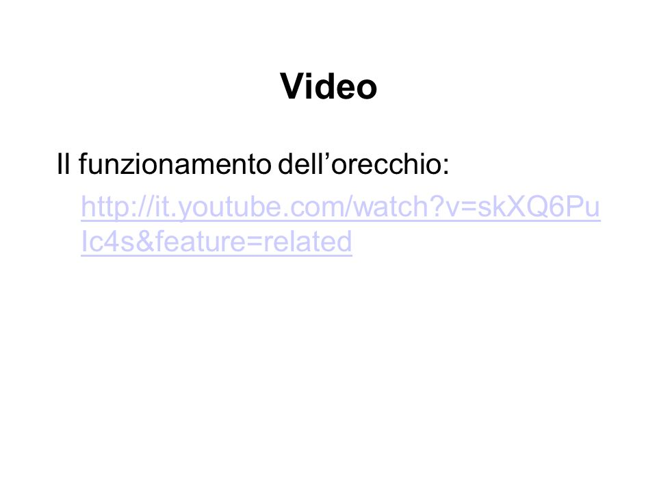 Video Il funzionamento dell'orecchio: http://it.youtube.com/watch v=skXQ6PuIc4s&feature=related