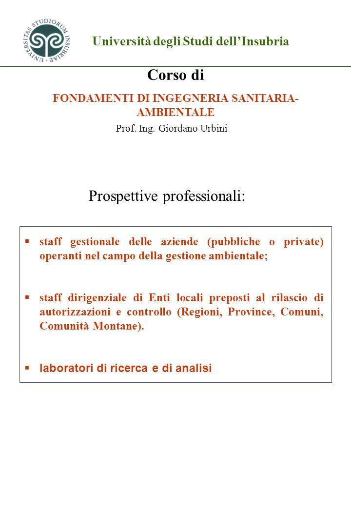 FONDAMENTI DI INGEGNERIA SANITARIA-AMBIENTALE