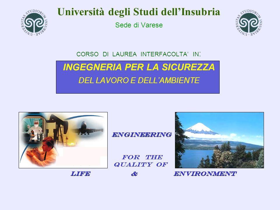 Università degli Studi dell'Insubria Sede di Varese CORSO DI LAUREA INTERFACOLTA' IN: INGEGNERIA PER LA SICUREZZA DEL LAVORO E DELL'AMBIENTE