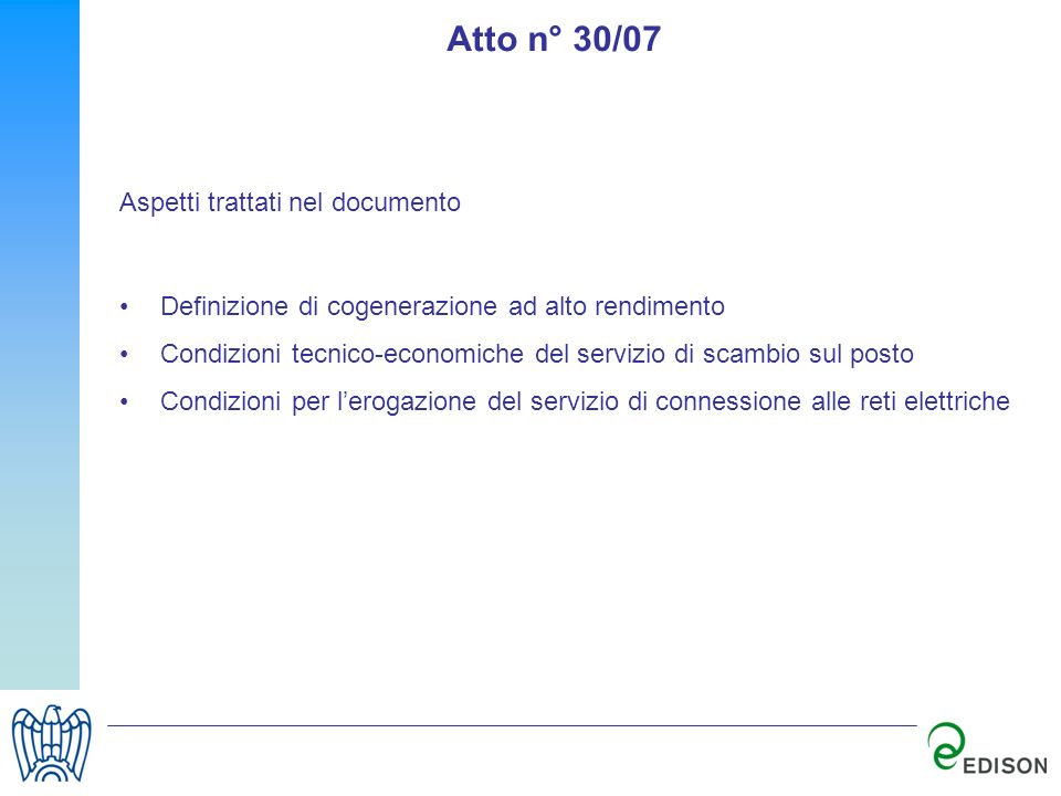 Atto n° 30/07 Aspetti trattati nel documento