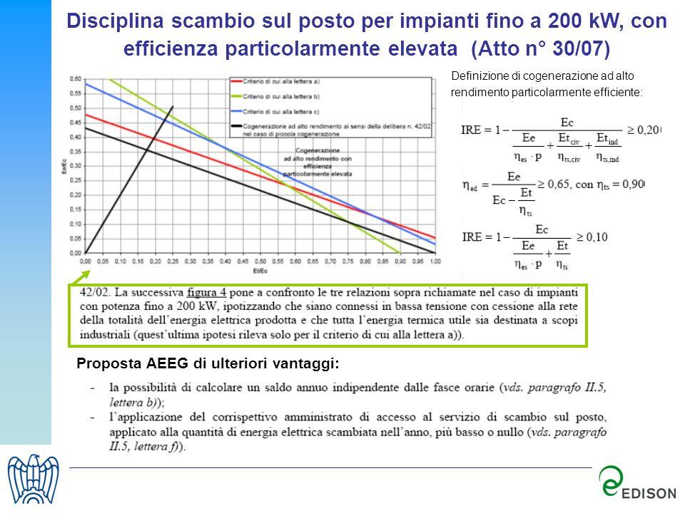 Disciplina scambio sul posto per impianti fino a 200 kW, con efficienza particolarmente elevata (Atto n° 30/07)