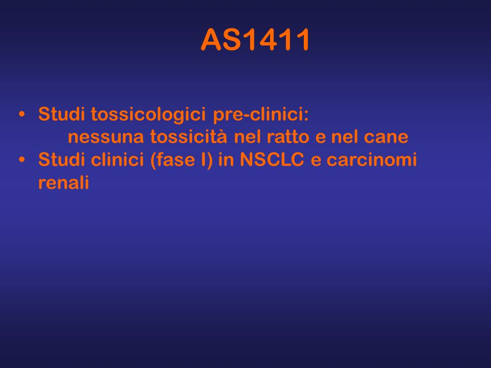 AS1411 Studi tossicologici pre-clinici: