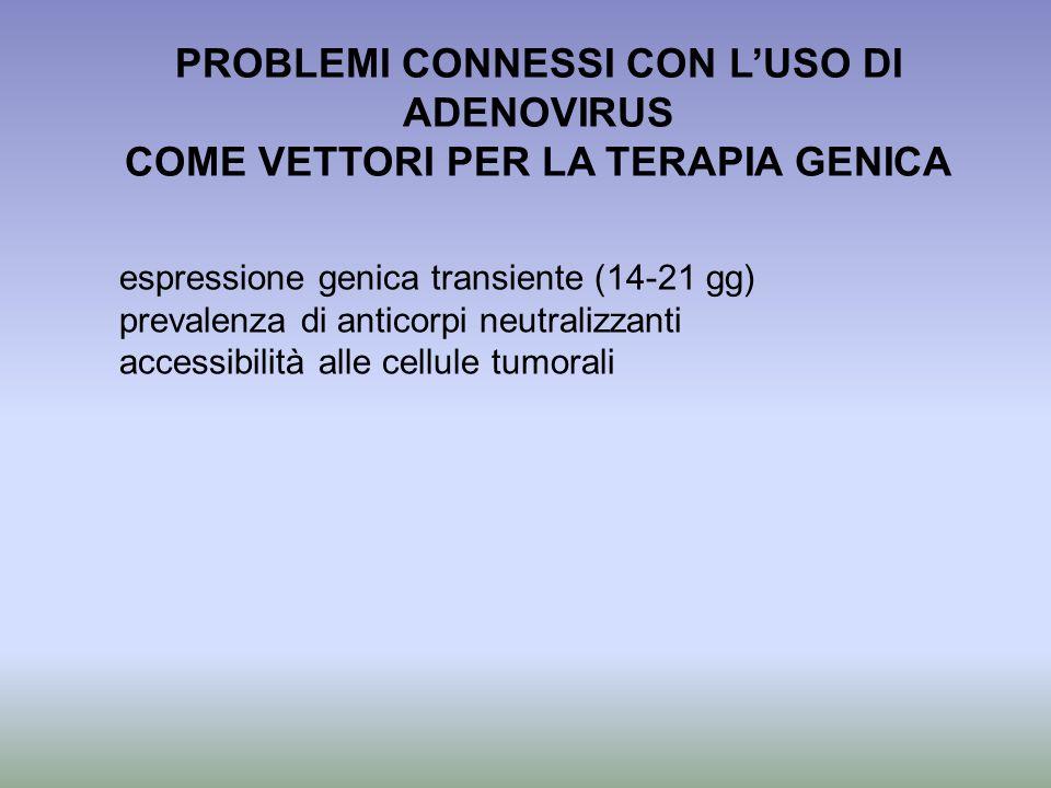 PROBLEMI CONNESSI CON L'USO DI ADENOVIRUS