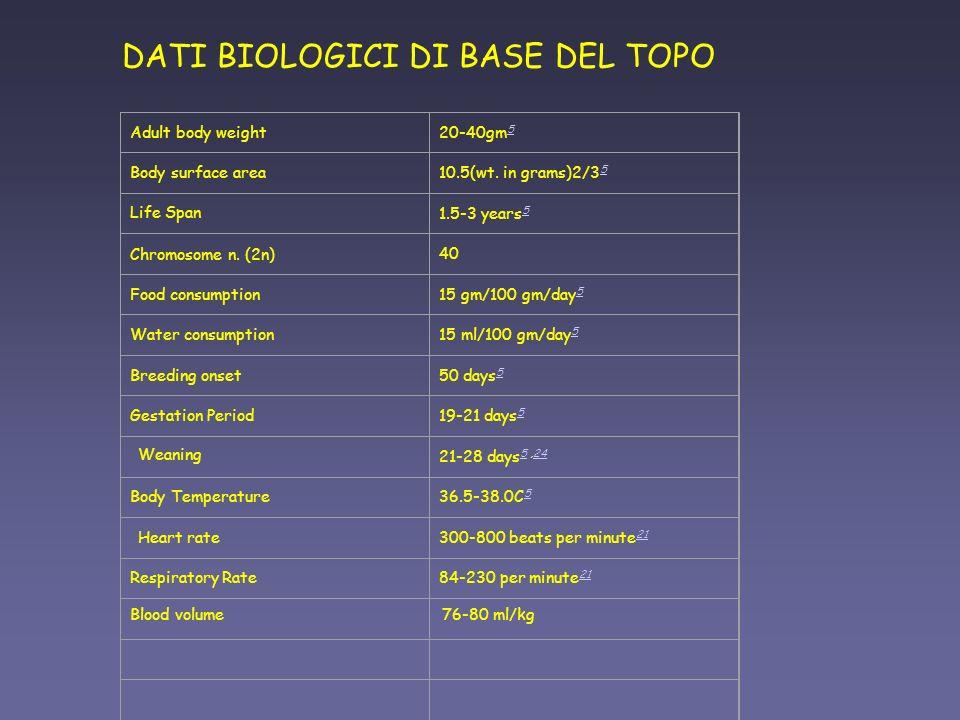 DATI BIOLOGICI DI BASE DEL TOPO