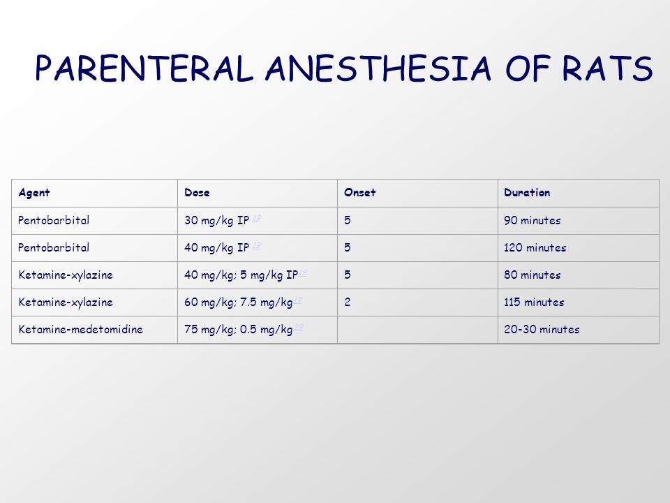 PARENTERAL ANESTHESIA OF RATS