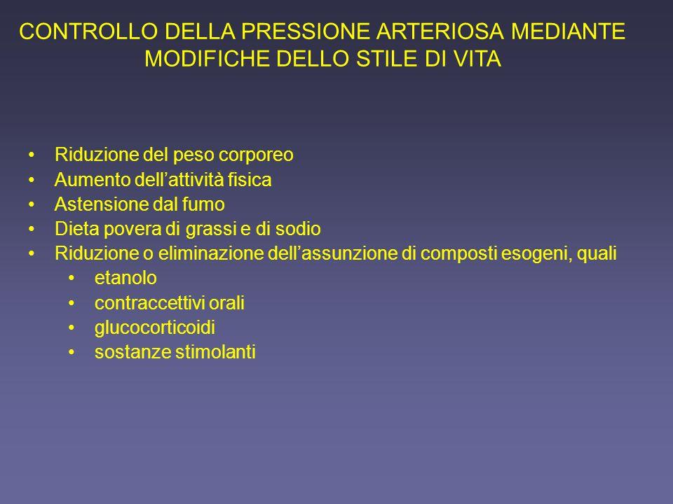 CONTROLLO DELLA PRESSIONE ARTERIOSA MEDIANTE MODIFICHE DELLO STILE DI VITA