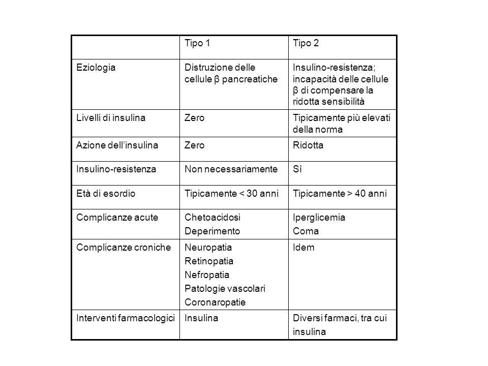 Tipo 1 Tipo 2. Insulino-resistenza; incapacità delle cellule β di compensare la ridotta sensibilità.