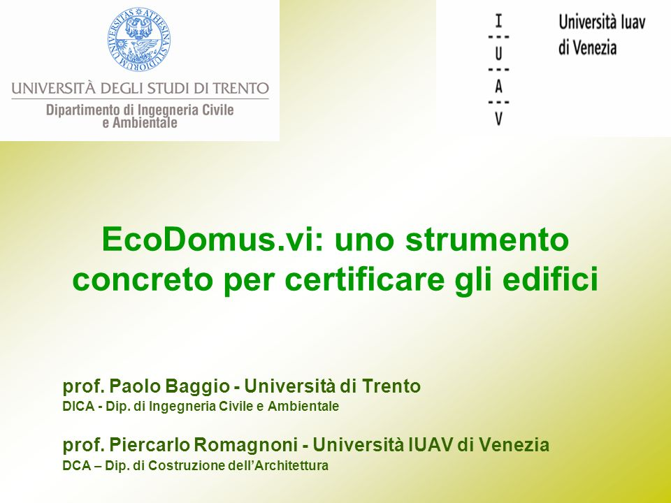 EcoDomus.vi: uno strumento concreto per certificare gli edifici
