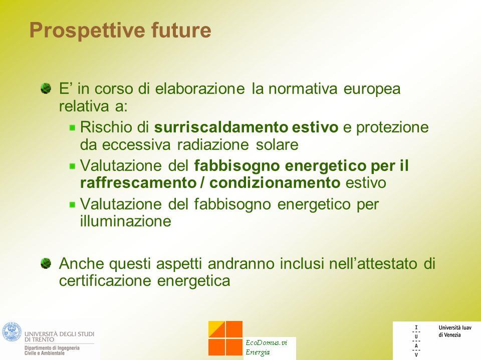 Prospettive future E' in corso di elaborazione la normativa europea relativa a: