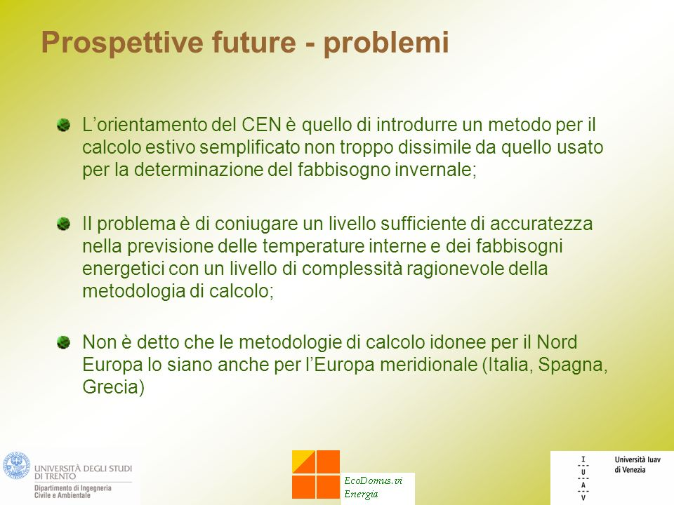 Prospettive future - problemi