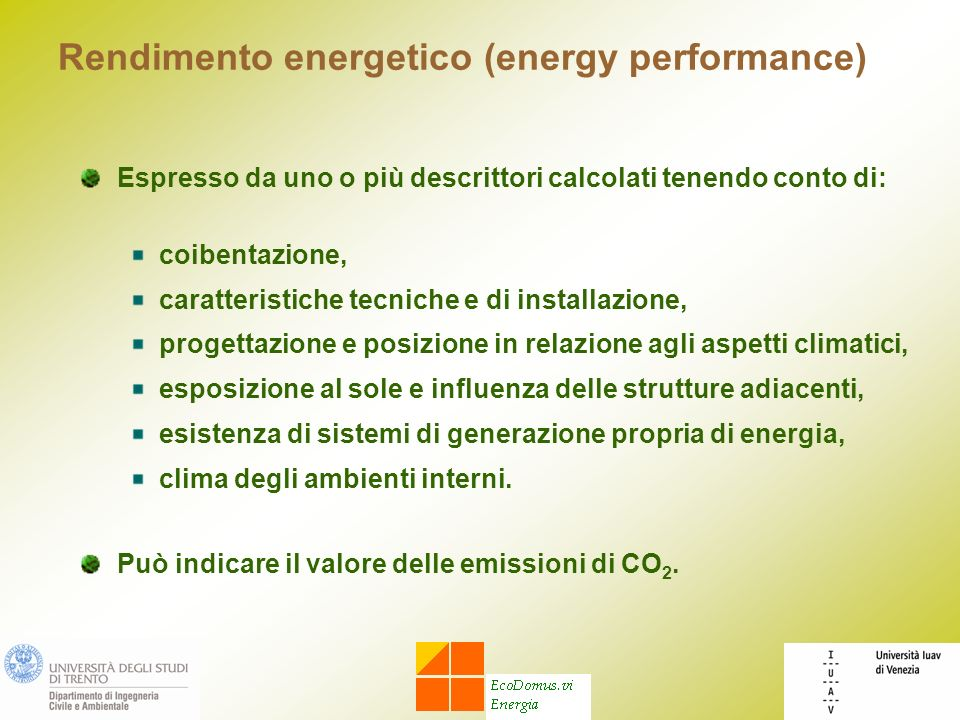 Rendimento energetico (energy performance)