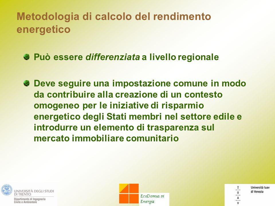 Metodologia di calcolo del rendimento energetico