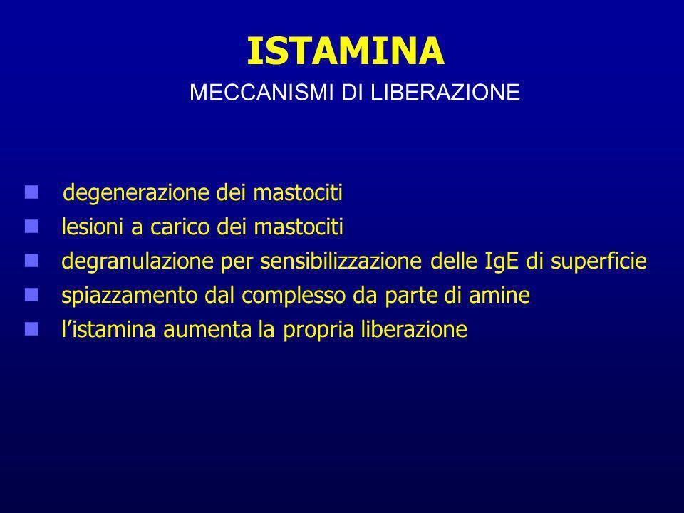ISTAMINA MECCANISMI DI LIBERAZIONE degenerazione dei mastociti