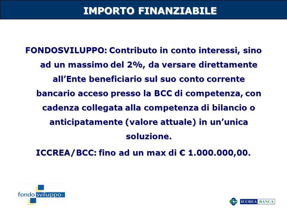 ICCREA/BCC: fino ad un max di € 1.000.000,00.