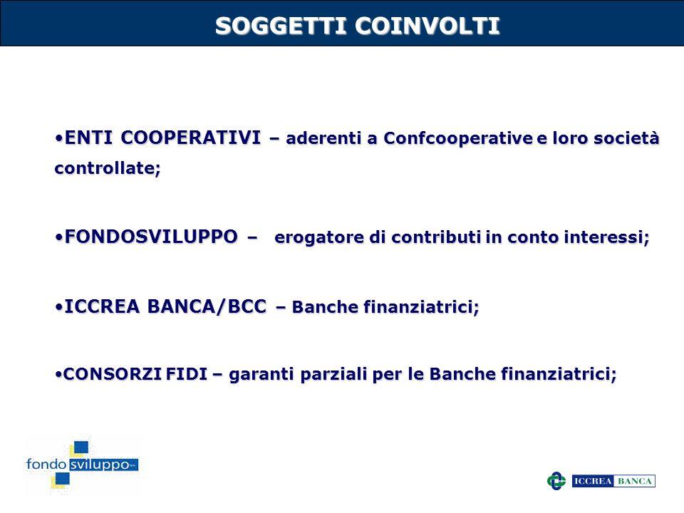 SOGGETTI COINVOLTI ENTI COOPERATIVI – aderenti a Confcooperative e loro società controllate;