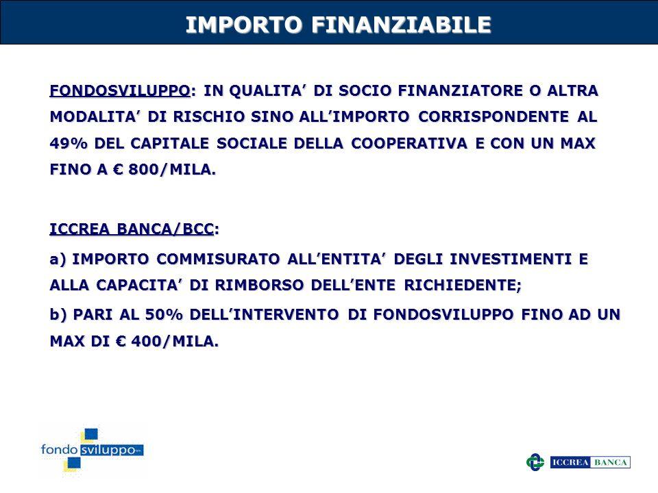 IMPORTO FINANZIABILE
