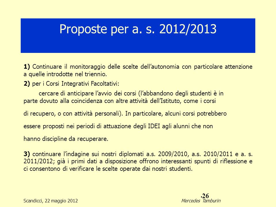 Proposte per a. s. 2012/2013 1) Continuare il monitoraggio delle scelte dell'autonomia con particolare attenzione a quelle introdotte nel triennio.