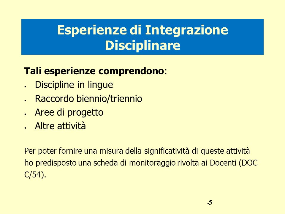 Esperienze di Integrazione Disciplinare