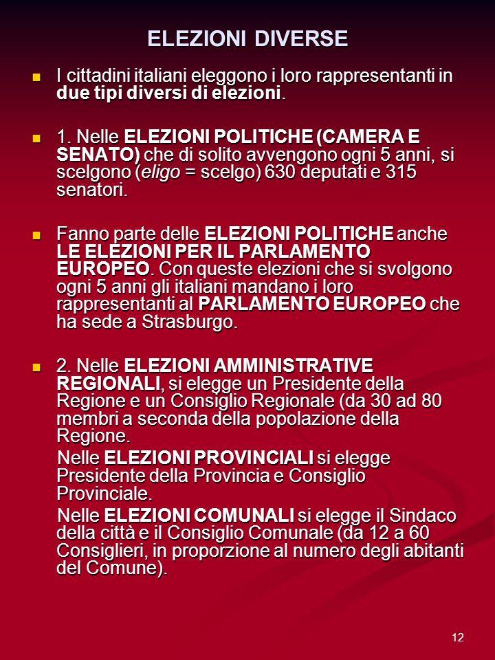 ELEZIONI DIVERSE I cittadini italiani eleggono i loro rappresentanti in due tipi diversi di elezioni.