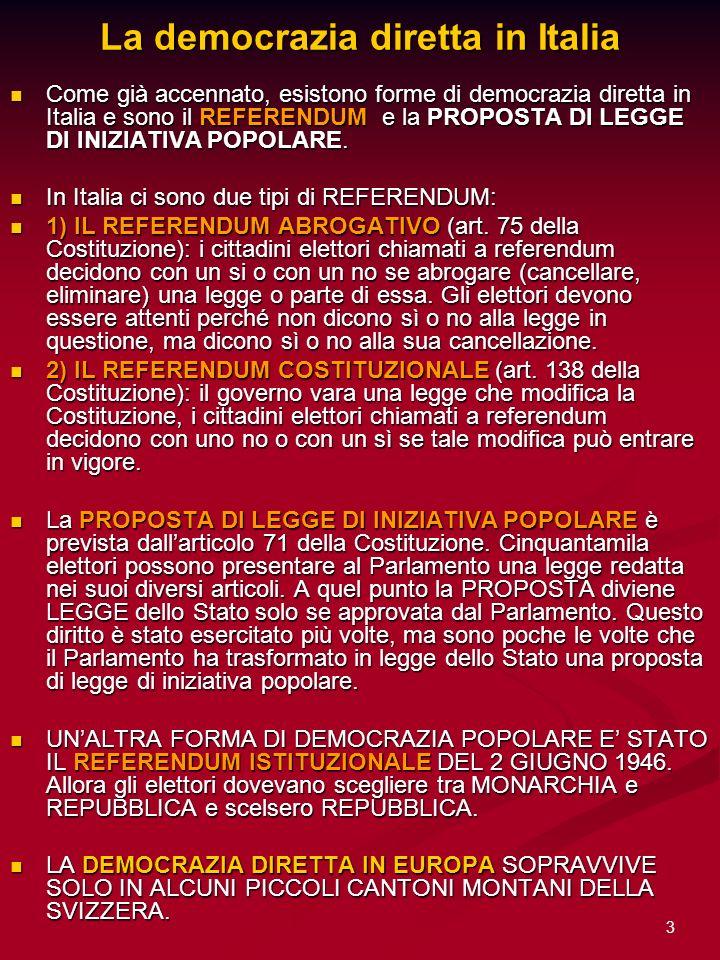 La democrazia diretta in Italia