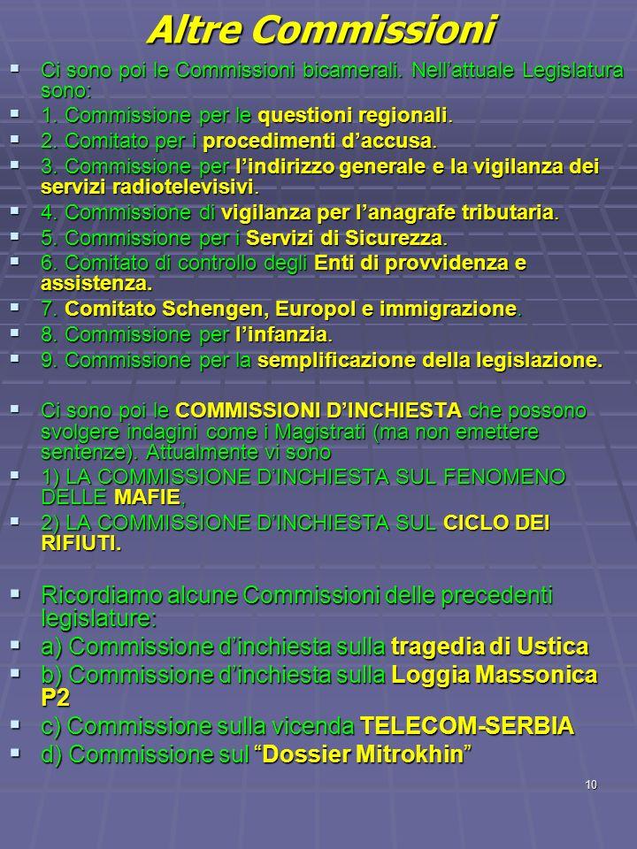 Altre Commissioni Ci sono poi le Commissioni bicamerali. Nell'attuale Legislatura sono: 1. Commissione per le questioni regionali.