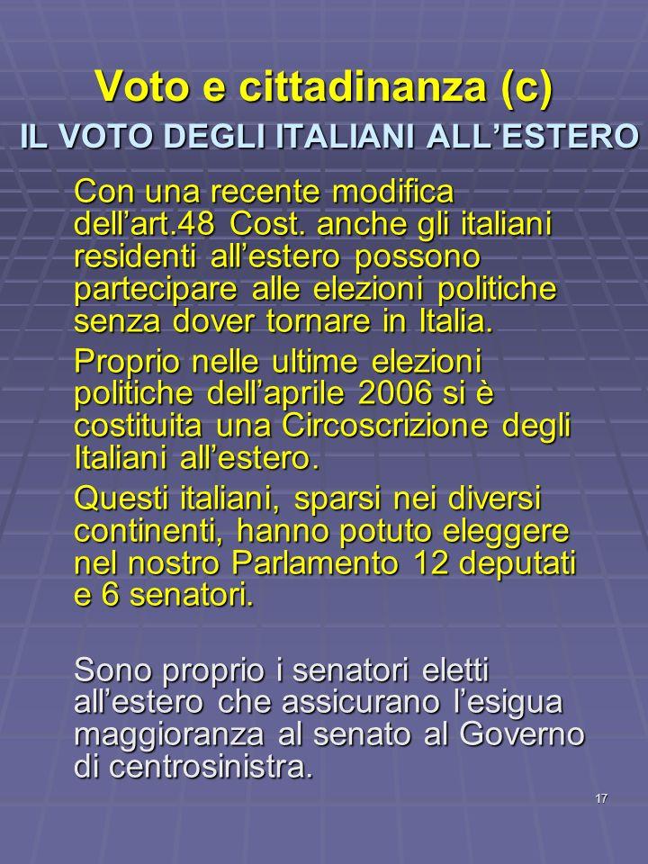 Voto e cittadinanza (c) IL VOTO DEGLI ITALIANI ALL'ESTERO