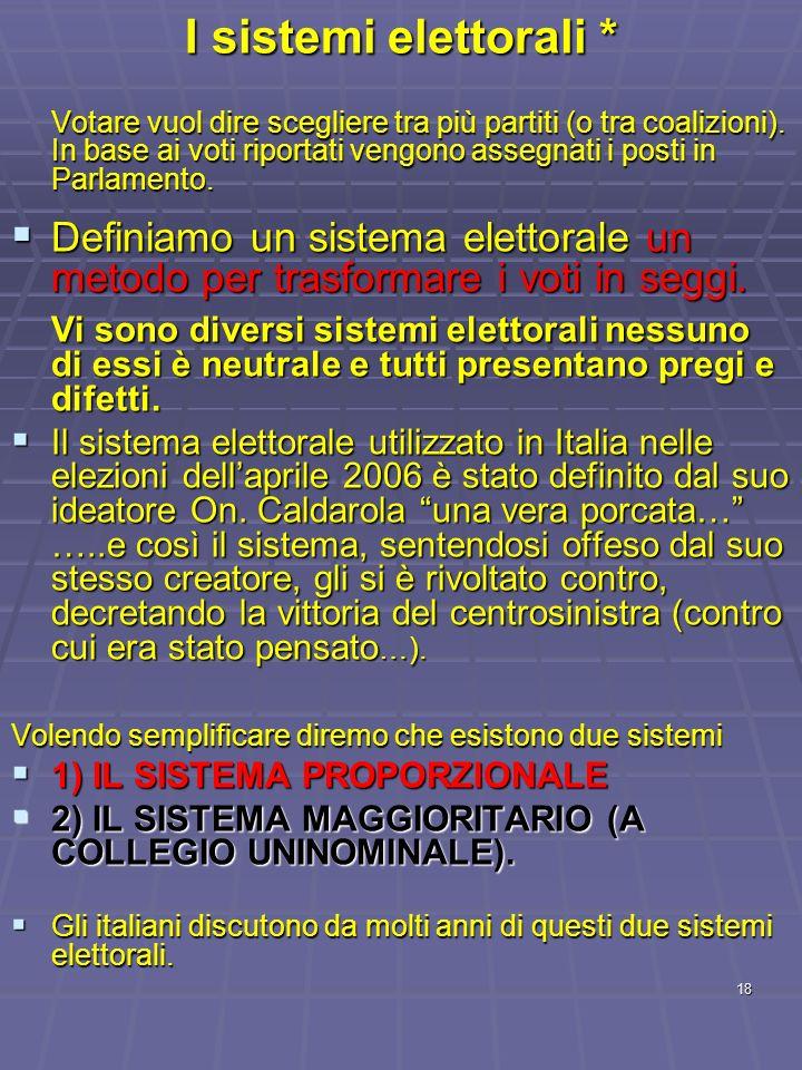 I sistemi elettorali *